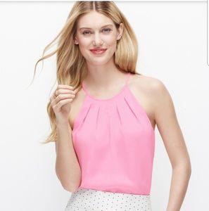 Ann Taylor pink pleat neck halter top